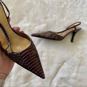 Bandolino Purple/Gold Leather Snakeskin Heels 7.5